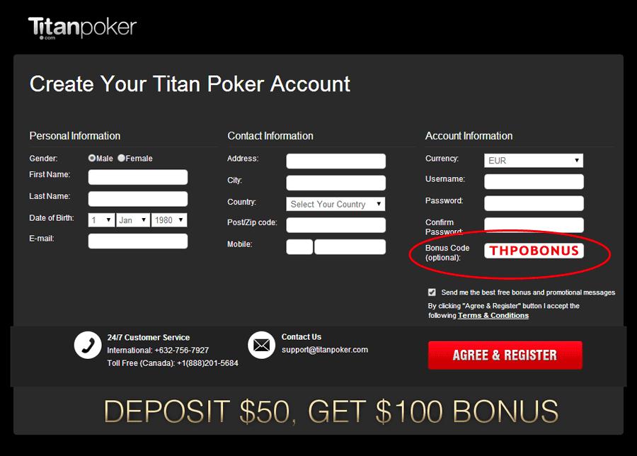 Titan poker promo code casino aix les bains bowling